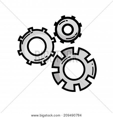 grayscale gear industry engineering process vector illustration