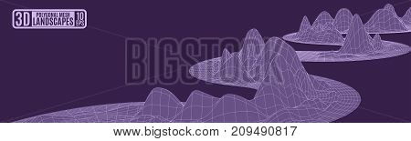 mountains on a dark purple background frame abstraction for advertising