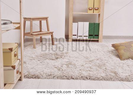 White soft carpet on floor indoors