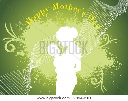 green grungy wave background with mother, child silhouette
