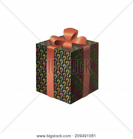 A colorful gift box with question marks print eps10 isolated vector illustration