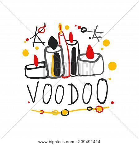 Voodoo African and American magic logo or label design with candles and stars. Spiritual, magical, cultural symbols. Traditional religion. Hand drawn mystical vector illustration isolated on white.
