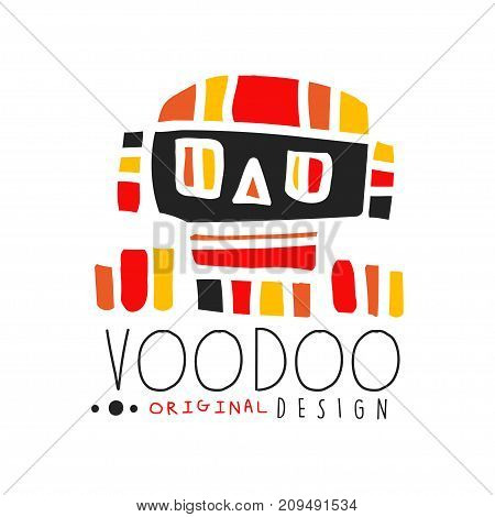 Voodoo African and American magic logo or label design with abstract mystic skull. Spiritual, magical, cultural symbols. Traditional religion. Hand drawn mystical vector illustration isolated on white