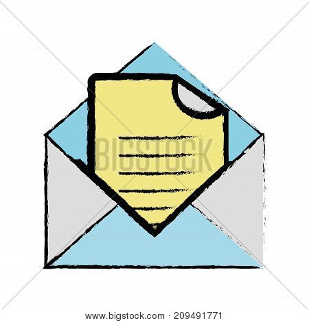 color e-mail message with document information vector illustration