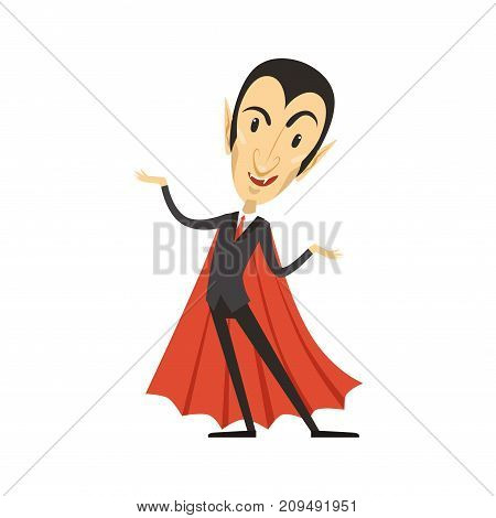 Happy count Dracula wearing black suit and red cape. Gothic horror cartoon standing vampire character with fangs. Happy Halloween. Man in costume. Flat design. Vector illustration isolated on white.