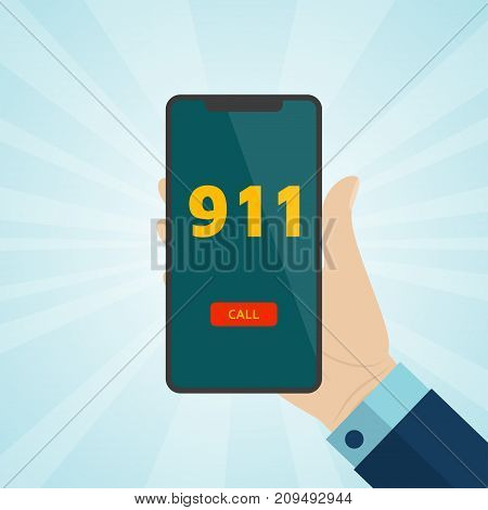 Hand holding smartphone with emergency call 911 on screen. Vector illustration.