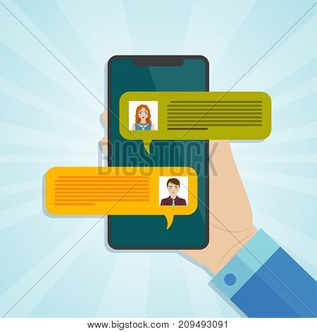 Hand holding smartphone with chat messages notification on screen. Vector illustration.
