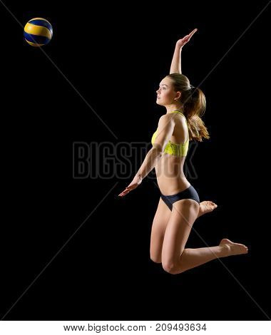 Young woman beach volleyball player (version with ball)