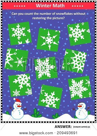 IQ training visual puzzle (suitable both for kids and adults): Can you count the snowflakes without assembling the picture puzzle? Answer included.