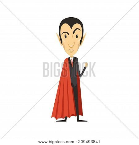 Angry count Dracula wearing black suit and red cape. Gothic horror cute cartoon grumpy vampire character with fangs. Happy Halloween. Flat design. Vector illustration isolated on white.