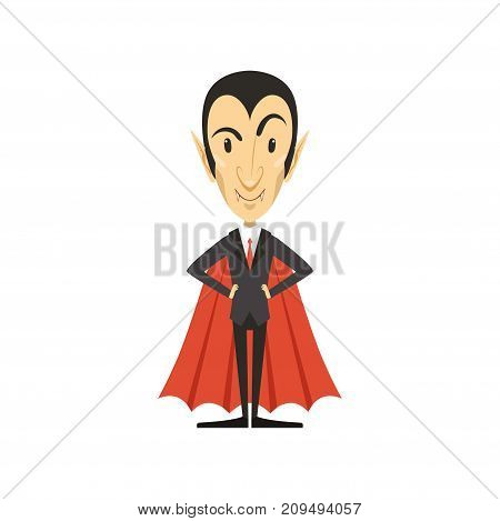 Count Dracula wearing black suit and red cape. Gothic horror cute cartoon standing vampire character with fangs. Happy Halloween. Man in costume. Flat design. Vector illustration isolated on white.