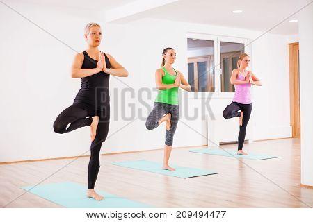 Three girls practicing yoga, Vrikshasana / Tree pose