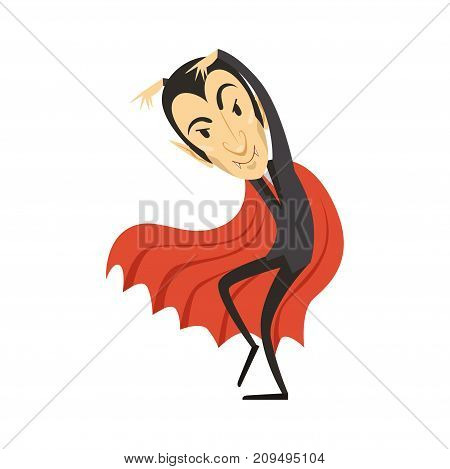 Sneaking count Dracula wearing black suit and red cape. Gothic horror cute cartoon creeping vampire character with fangs. Happy Halloween. Scary man. Flat design. Vector illustration isolated on white