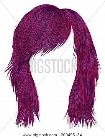 trendy woman hairs bright pink color . medium length . beauty style . realistic 3d .