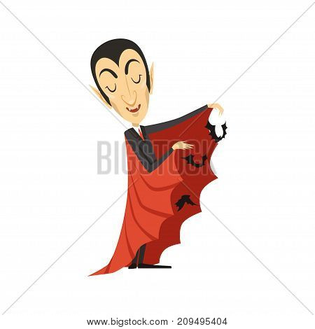 Count Dracula wearing black suit and red cape. Bats fly from under the cloak. Gothic horror cartoon vampire character with fangs. Happy Halloween. Flat design. Vector illustration isolated on white.