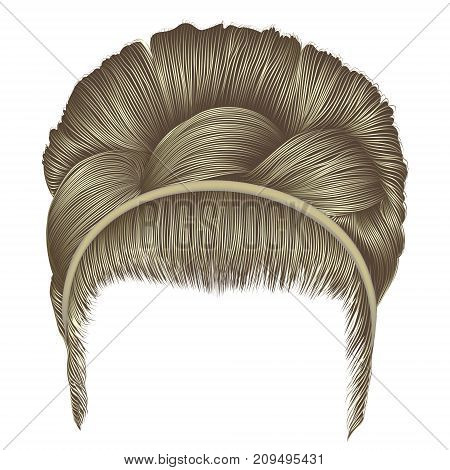 babette of hairs with pigtail blond colors . trendy women fashion beauty style . realistic 3D . retro hairstyle .