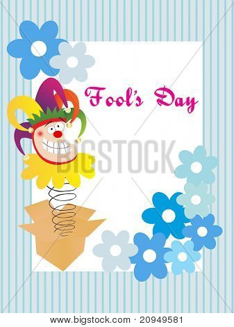 funny jester face with floral design for fools day