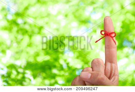 Bow finger point rope red white background