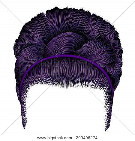 babette of hairs with pigtail purple colors . trendy women fashion beauty style . realistic 3D . retro hairstyle .