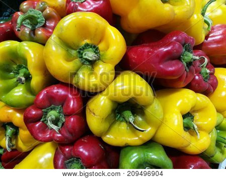 Red And Green Peppers At Farmers Market