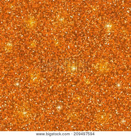 Orange glitter seamless pattern. Sparkles background. Vector