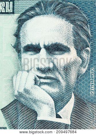 Cesar Vallejo portrait from Peruvian money - Soles