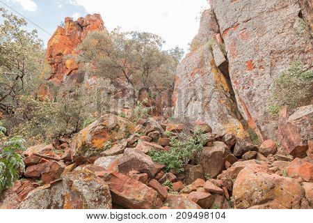 WATERBERG PLATEAU NATIONAL PARK NAMIBIA - JUNE 19 2017: Unidentified tourists on the footpath leading to the Waterberg Plateau near Otjiwarongo in the Otjozondjupa Region of Namibia