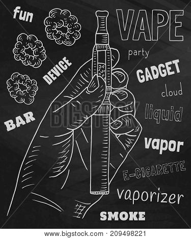 Vaporizer pen. Beautiful poster of Vaporizer on the chalkboard background.