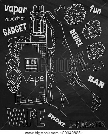 Vaporizer shop. Beautiful poster of Vaporizer on the chalkboard background.