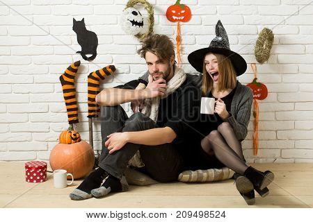 Halloween Man Or Macho Wearing Scarf