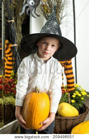 Halloween Child With Happy Face.