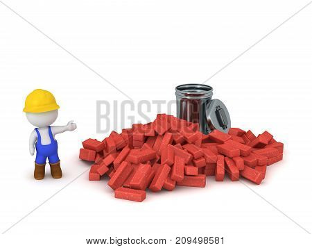 3D character in overalls and hard hat showing a pile of bricks and a trash can. Isolated on white background.