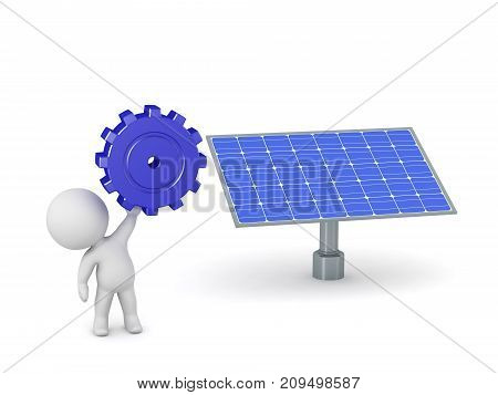 3D character holding up a large gear wheel next to a solar panel. Isolated on white background.