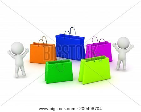 3D characters with several shopping bags. Isolated on white background.