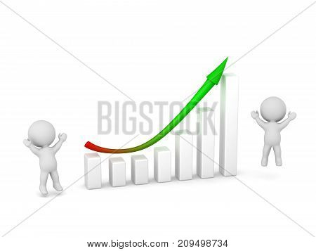 Two 3D characters cheering next to a good chart indicating recovery from a slump. Isolated on white background.