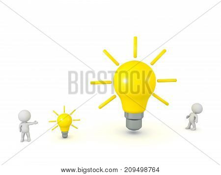 Two 3D characters with two idea light bulbs - one small and one large. Isolated on white background.