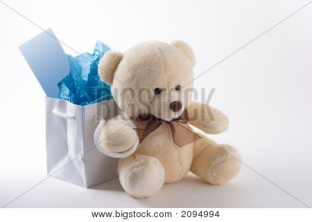 Generic teddy bear sits in front of a small gift bag with notecard poster