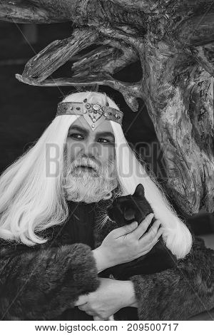 Druid old man with long grey hair and beard with crown in fur coat holds cat on dark wooden background