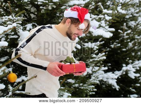 Man Smiling With Present Box In Snow Wood