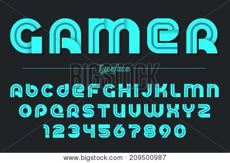 Gamer vector decorative font design, alphabet, typeface, typography Vector illustration