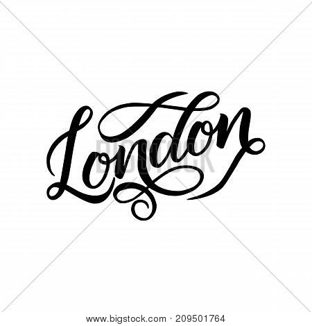 City logo isolated on white. Black label or logotype. Vintage badge calligraphy in grunge style. Great for t-shirts or poster, London, Great Britain
