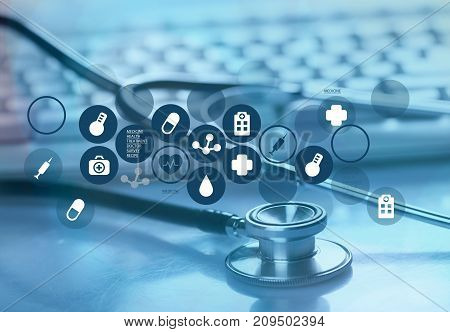 Laptop stethoscope hang top computer background health
