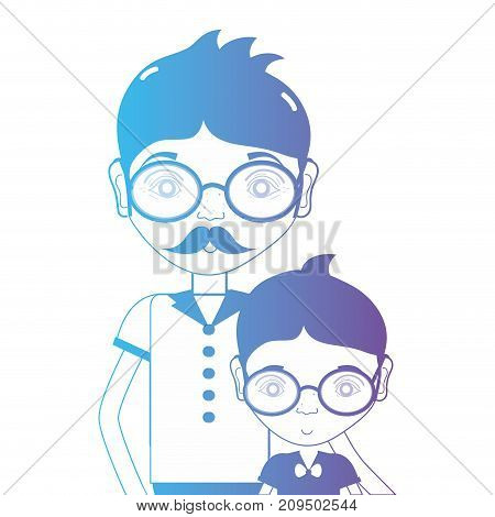 line father with his son and glasses design vector illustration