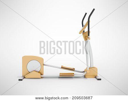 Modern Treadmill Gym Orange 3D Rendering On Gray Background