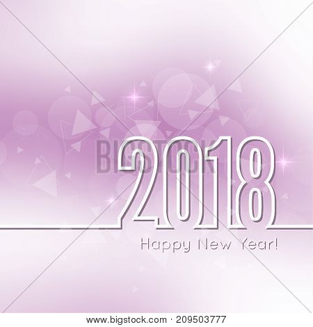 Abstract blurred vector background with sparkle stars. Happy New Year 2018. For decorations festivals, xmas, glamour holiday, illuminated, celebration.