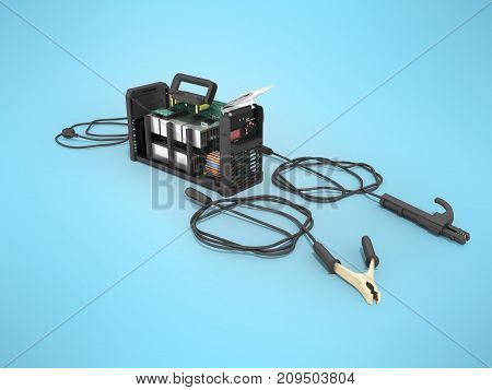 Modern Inverter Welding Machine Dismantled Gray Perspective 3D Render On Blue Background