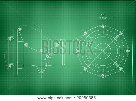 white drawing on a green background, engineering