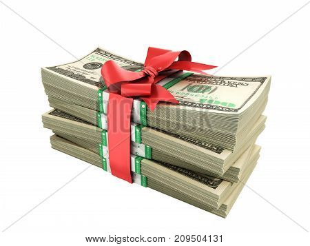 Concept Of Money Deposite Bonus Stack Of Dollar Bills Cash With Red Bow 3D Render On White No Shadow