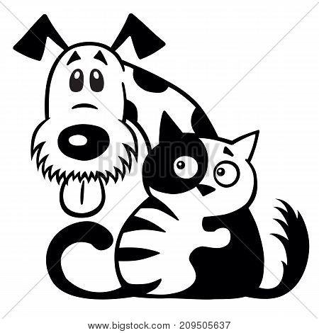 cartoon little cat hugging his dog friend. Pets friendship. Black and white logo