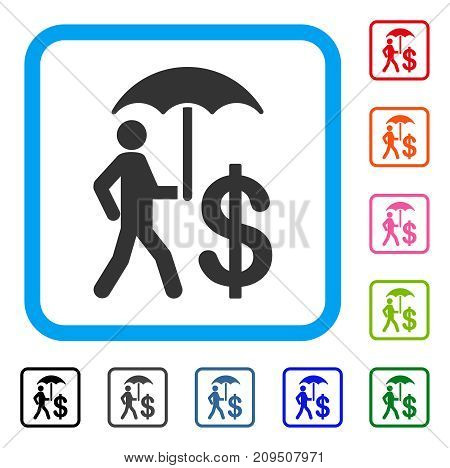 Banker Umbrella Protection icon. Flat gray iconic symbol inside a light blue rounded frame. Black, gray, green, blue, red, orange color variants of Banker Umbrella Protection vector.